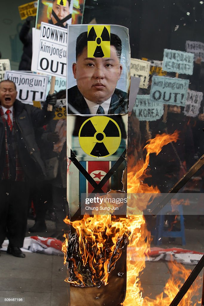 South Korean protesters burn an effigy of North Korea leader Kim Jong-Un during an anti-North Korea rally on February 11, 2016 in Seoul, South Korea. South Korea announced on February 10, 2016 that the country would close an industrial complex jointly ran with North Korea, as the strongest response for North's recent nuclear test and rocket launch.