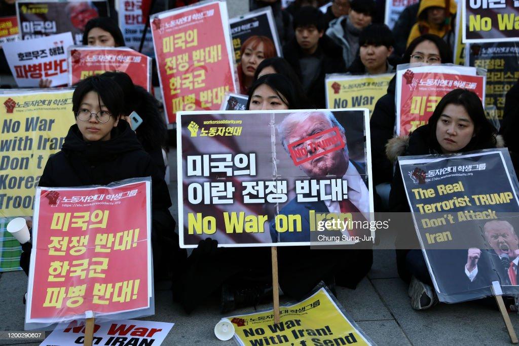 South Koreans Rally Against U.S. Strike On Iranian Military Commander Qasem Soleimani : ニュース写真