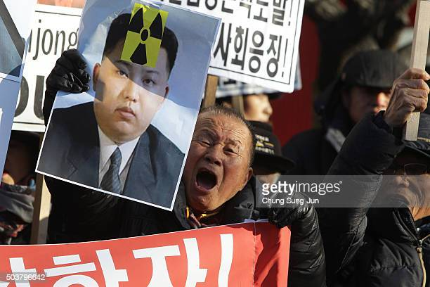 South Korean protesters particpate in an antiNorth Korea rally on January 7 2016 in Seoul South Korea North Korea announced yesterday that they had...
