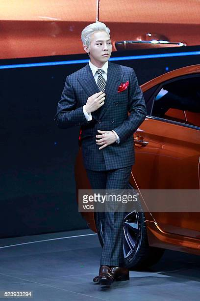South Korean rapper GDragon attends Hyundai booth at 2016 Beijing International Automotive Exhibition on April 25 2016 in Beijing China