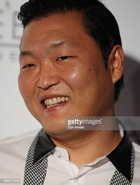South Korean rapper Psy arrives for his only night club performance during his Sydney visit at Marquee at the Star on October 18 2012 in Sydney...
