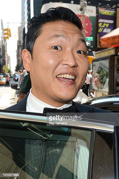 South Korean rapper Psy leaves MTV Studios on September 14 2012 in New York City