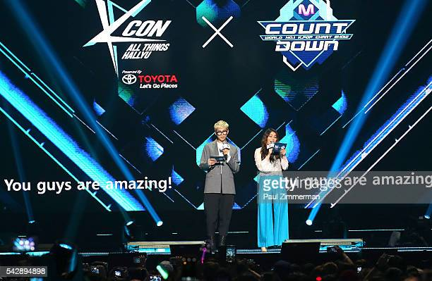 South Korean rapper, Rap Monster and singer Ailee speak onstage at KCON 2016 at Prudential Center on June 24, 2016 in Newark, New Jersey.