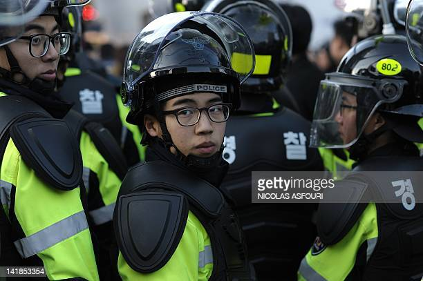 South Korean riot police gather in downtown Seoul on March 25, 2012 during a protest rally on the eve of the 2012 Seoul Nuclear Security Summit....