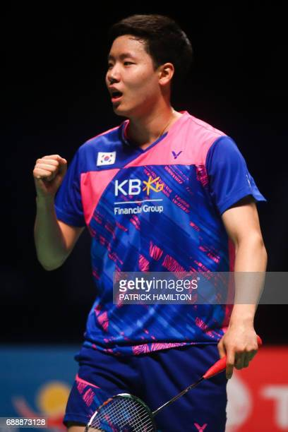 South Korean Seung Jae Seo reacts during the men's doubles Sudirman Cup match with partner Choi Solgyu against Bodin Issara and Dechapol...