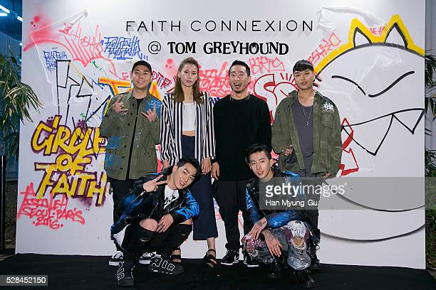 South Korean siners Loco GRAY Simon Dominic of boy band Supreme Team and Park JaeBum attend the photocall for 'Tom GreyHound' Launch on April 28 2016...