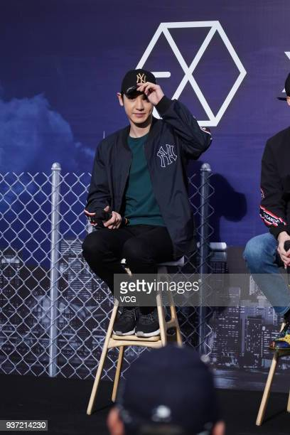 South Korean singer and actor Chanyeol of boy group EXO attends a promotional event of MLB on March 23 2018 in Hong Kong China