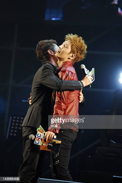 South Korean singer and actor Lee Junki performs on stage during his concert at Luwan Gymnasium on April 28 2012 in Shanghai China