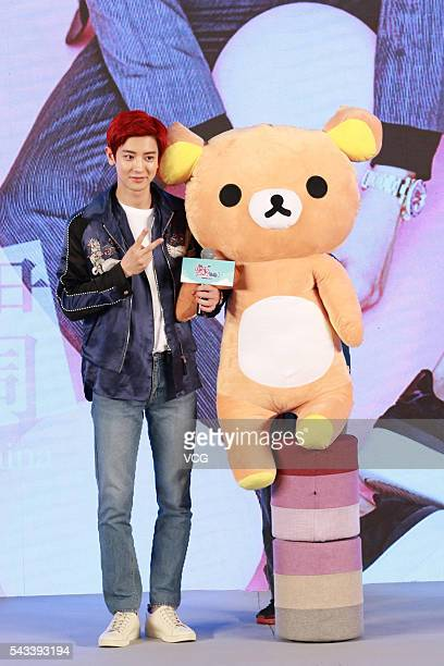 South Korean singer and actor Park Chanyeol of South KoreanChinese boy group EXO attends the premiere of movie No One's Life Is Easy on June 27 2016...