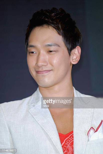South Korean singer and actor Rain poses for photos during a press conference at Joy City on May 24, 2011 in Shanghai, China.
