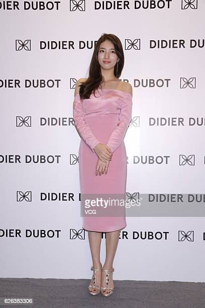 South Korean singer and actress Bae Suzy attends a commercial activity of Didier Dubot on November 29 2016 in Hong Kong China