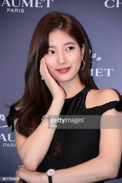 South Korean singer and actress Bae Suzy attends Chaumet event on April 26 2018 in Hong Kong China
