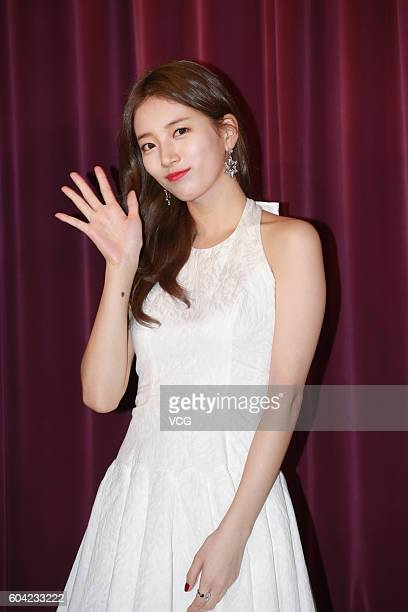 South Korean singer and actress Bae Suzy attends the unveiling ceremony for her wax figure on September 13 2016 in Hong Kong China