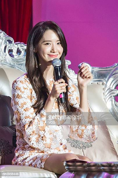 South Korean singer and actress Im Yoona attends her fan meeting on July 24 2016 in Chongqing China