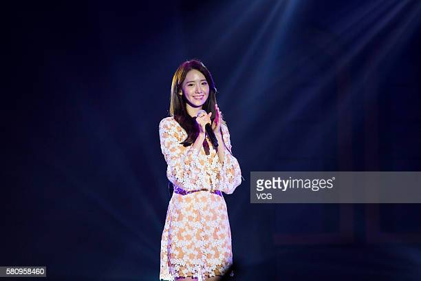 South Korean singer and actress Im Yoona performs her fan meeting on July 24 2016 in Chongqing China