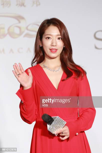 South Korean singer and actress Park Shinhye attends Swarovski Christmas lighting ceremony on November 28 2017 in Macao China