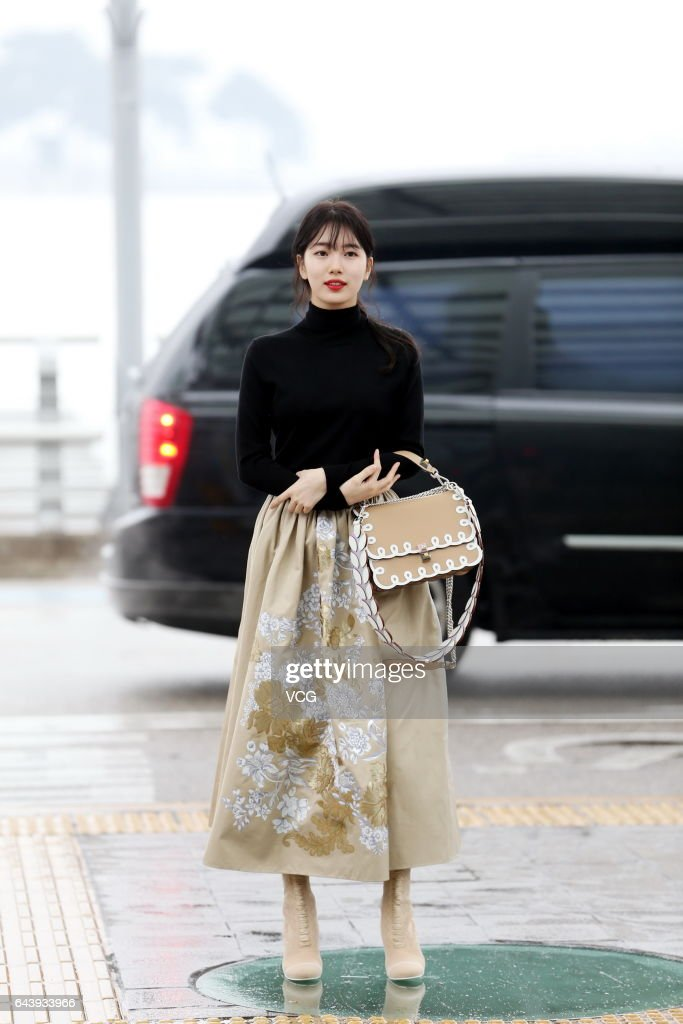 South Korean Singer And Actress Suzy Bae Arrives At Incheon International Airport Sets Out For