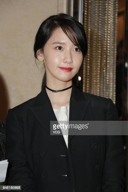 South Korean singer and actress Yoona attends the preview of Dior spring/summer women collection on February 28 2017 in Hong Kong China