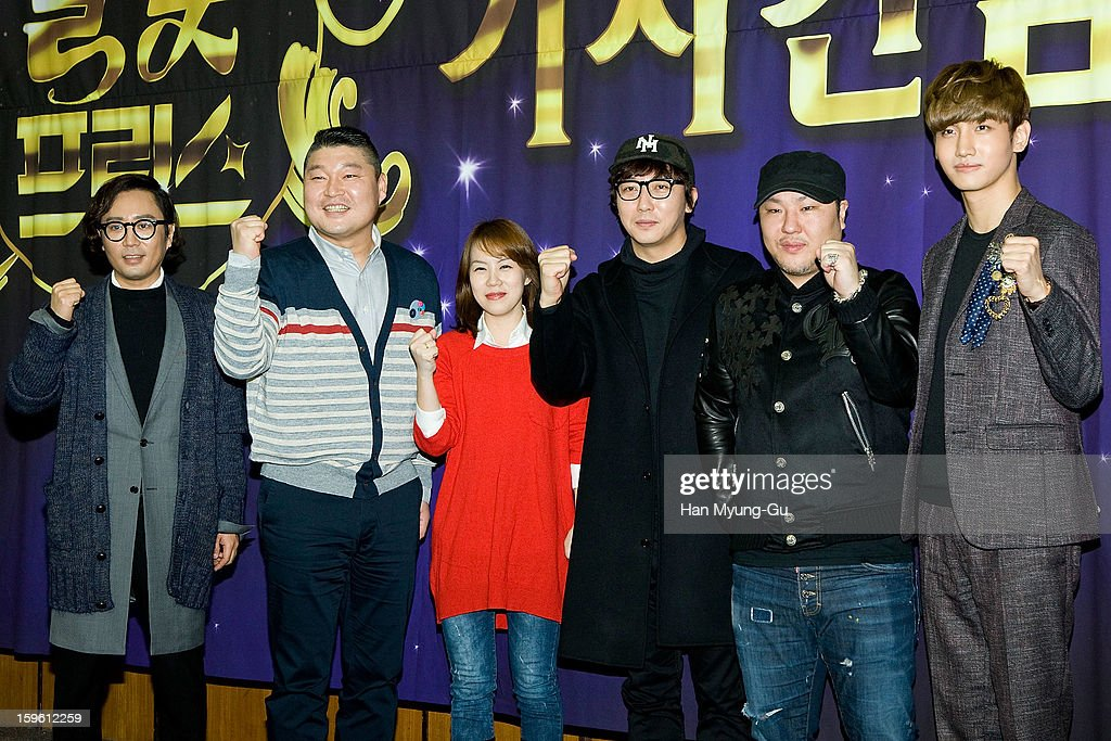 South Korean singer and song writer Jung Jae-Hyung, MC Kang Ho-Dong, Tak Jae-Hoon, Music producer Brave Brothers and Max of South Korean boy band TVXQ (Tohoshinki) attend the KBS2 Talk Show 'Moonlight Prince' Press Conference at KBS on January 16, 2013 in Seoul, South Korea. Talk show will open on January 22 in South Korea.