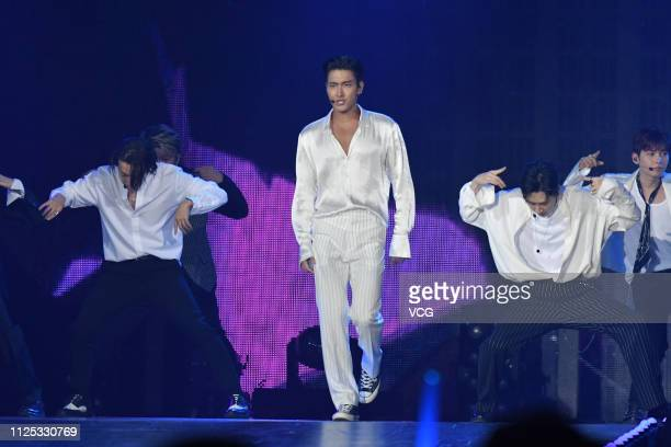 South Korean singer Choi Siwon and other members of boy group Super Junior perform onstage during the 14th Kkbox Music Awards at Taipei Arena on...