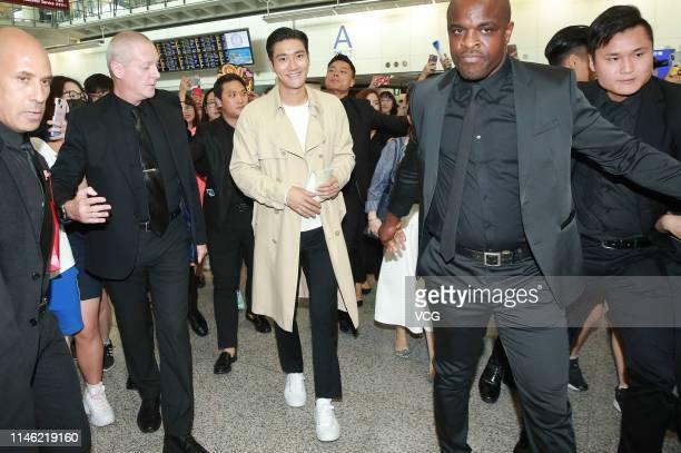 South Korean singer Choi Si-won of boy group Super Junior arrives at an airport on May 1, 2019 in Hong Kong, China.