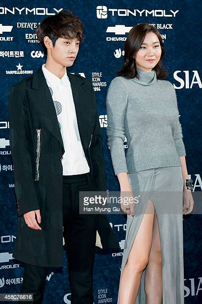 South Korean singer Jung JoonYoung and model Jang YoonJu attend 2014 Style Icon Awards at DDP on October 28 2014 in Seoul South Korea
