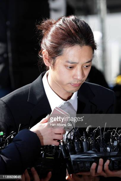 South Korean singer Jung JoonYoung is seen arriving at a Seoul police station on March 14 2019 in Seoul South Korea Jung Joonyoung a South Korean...