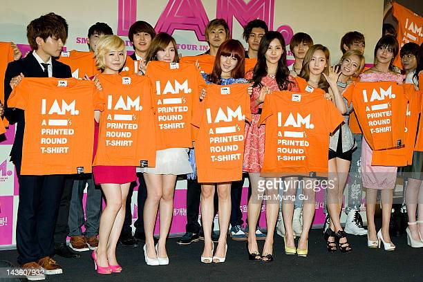 South Korean singer Kangta of HOT and idol group Super Junior and f and TVXQ and SHINee and Girls' Generation attend a showcase to promote 'I AM' at...