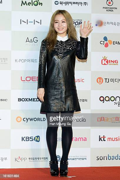 South Korean singer Lee Hi attends during the 2nd Gaon Chart KPOP Awards at Olympic Hall on February 13 2013 in Seoul South Korea