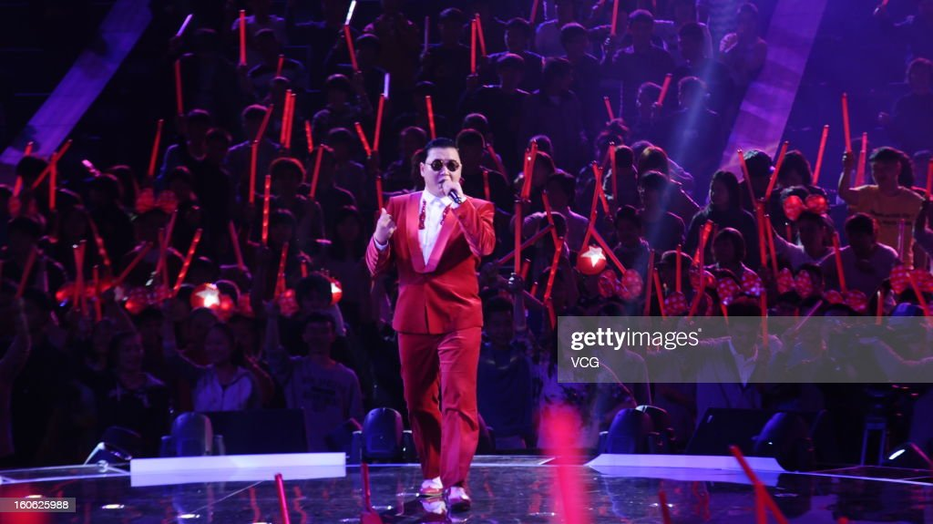 South Korean singer Psy performs on stage on February 1, 2013 in Shanghai, China.