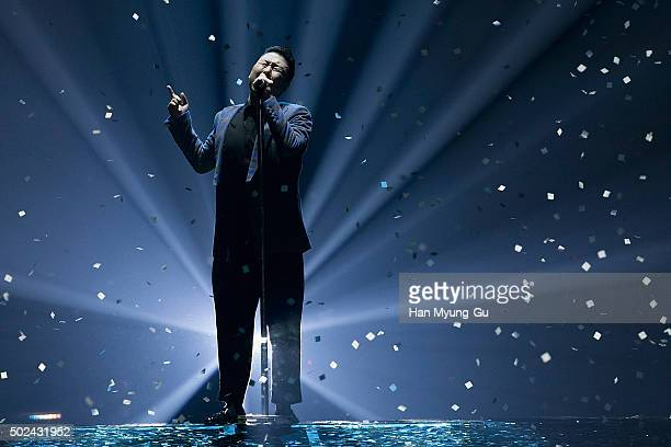 South Korean singer PSY performs onstage during the 'All Night Stand 2015' on December 24 2015 in Seoul South Korea