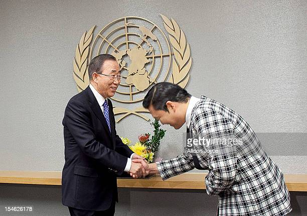 South Korean singer Psy whose real name is Park Jaesang visits UN Secretary General Ban Kimoon at the United Nations on October 23 2012 in New York...