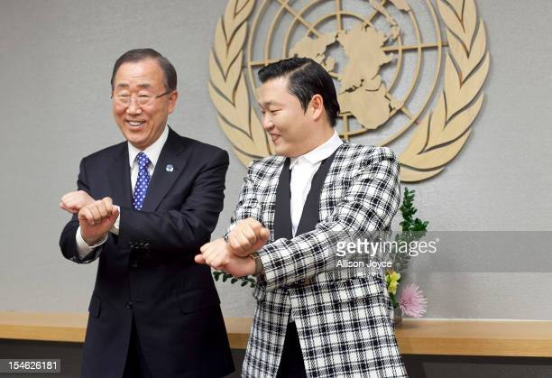 South Korean singer Psy , whose real name is Park Jae-sang, visits UN Secretary General Ban Ki-moon at the United Nations on October 23, 2012 in New...