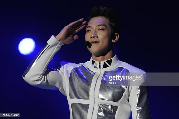 """South Korean singer Rain performs onstage during his concert """"The Squall 2015 & 2016"""" on January 23, 2016 in Shenyang, Liaoning Province of China."""