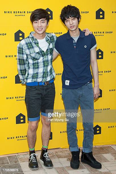 South Korean singer Roy Kim and Jung JoonYoung attend during the 'Bike Repair Shop' Flagship Store Opening on June 14 2013 in Seoul South Korea