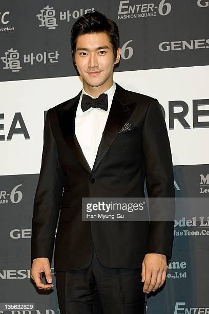 South Korean singer Siwon of boy band Super Junior poses during the Korea Best Dresser Swan Awards on December 12, 2011 in Seoul, South Korea.