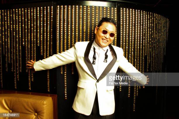 South Korean singer songwriter Psy poses during a portrait shoot at the Marquee Club The Star on October 16 2012 in Sydney Australia