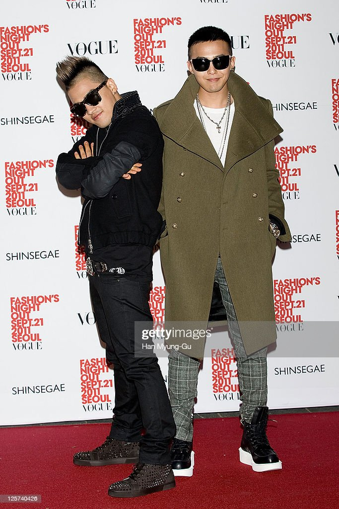 South Korean singer, Taeyang and G-Dragon of Big Bang arrive for the 'VOGUE' The Fashion's Night Out at the Shinsegye department store on September 21, 2011 in Seoul, South Korea.