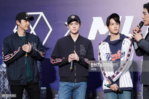 South Korean singers Chanyeol Sehun and Kai of boy group EXO attend an opening ceremony of MLB store on March 23 2018 in Hong Kong China