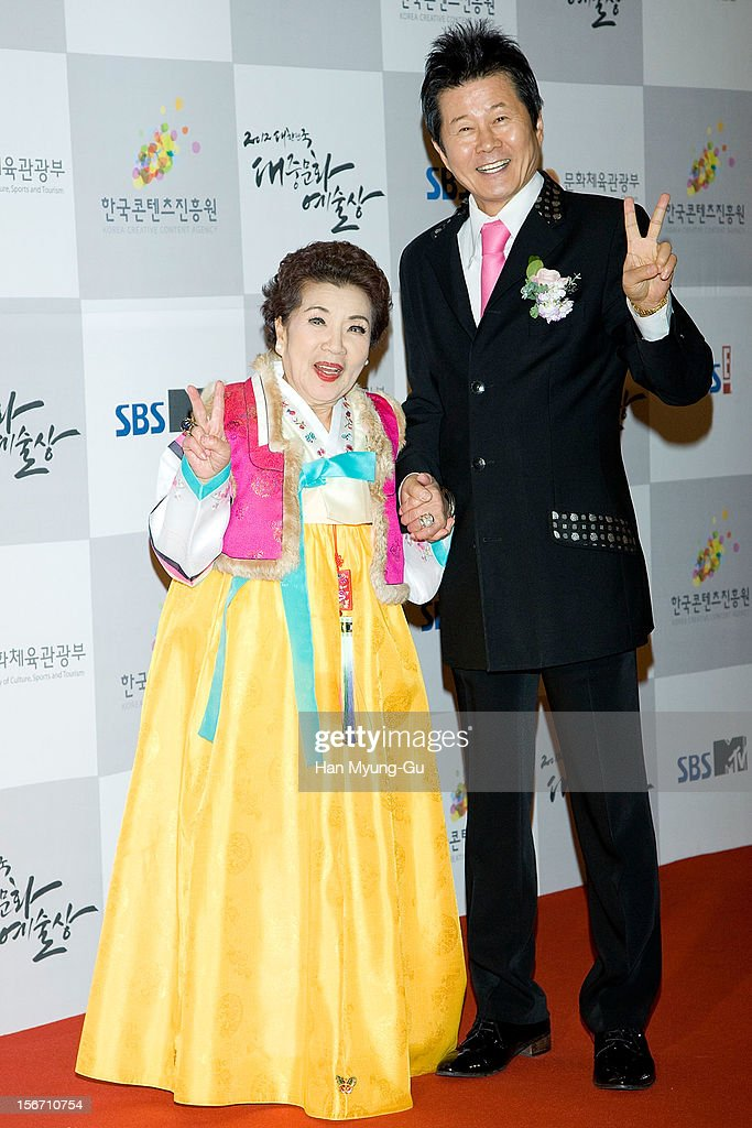 South Korean singers Geum Sa-Hyang and Tae Jin-Ah attend during the 2012 Korea Popular Culture Art Awards at Olympic Hall on November 19, 2012 in Seoul, South Korea.