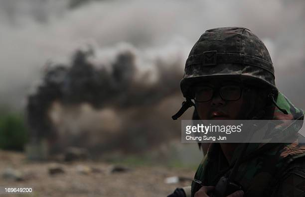 South Korean soldier from 6th Engineer Brigade participates in a river crossing exercise on May 30 2013 in Yeoncheongun South Korea The joint...