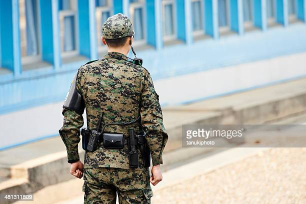 south korean soldier in the jsa - korean military stock photos and pictures