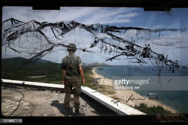 South Korean soldier looks over the North Korea at the Unification observation on August 20, 2018 in Goseong, South Korea. Almost a hundred South...