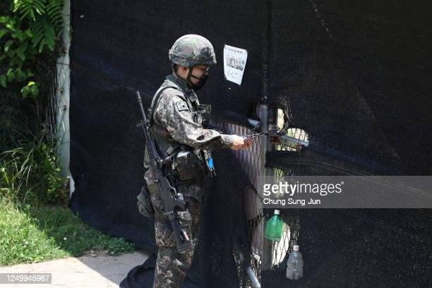South Korean soldier patrols at Imjingak, near the demilitarized zone on June 16, 2020 in Paju, South Korea. North Korea's military said Tuesday it...
