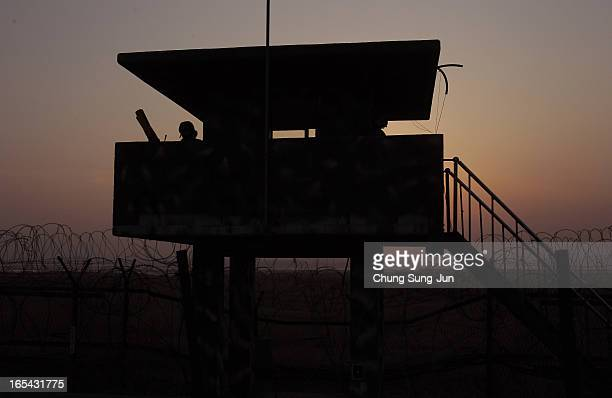 South Korean soldier stands guard at the checkpoint near the border village of Panmunjom on April 4 2013 in Paju South Korea Still 400 South Korean...