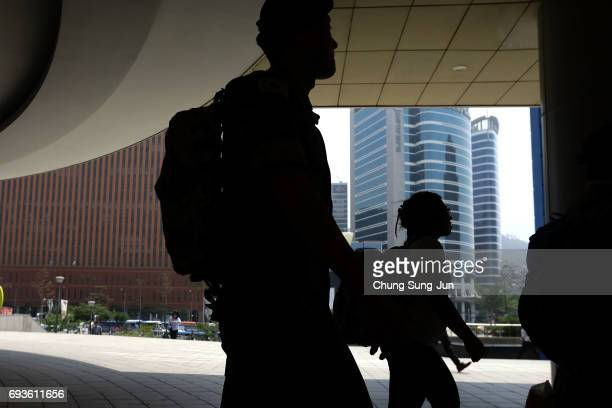 South Korean soldier walks at the Seoul Railway Station on June 8 2017 in Seoul South Korea According to the South Korean military North Korea...