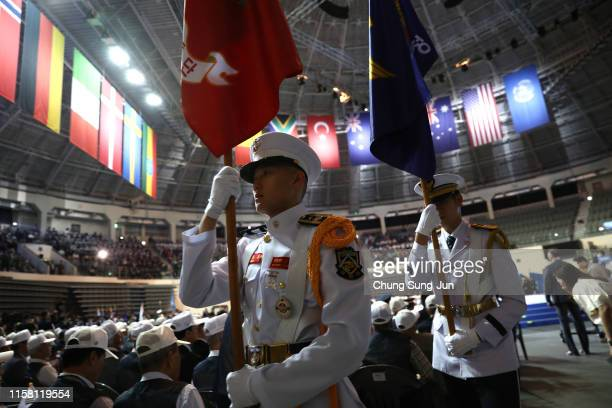 South Korean soldiers attend during a ceremony to mark the 69th anniversary of the Korean War on June 25 2019 in Seoul South Korea Over 66000 South...
