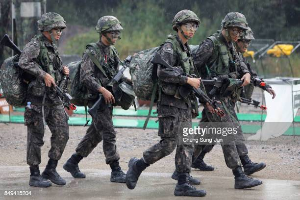South Korean soldiers from 26th infantry division take part during the Warrior Strike VIII exercise at the Rodriguez Range on September 19 2017 in...