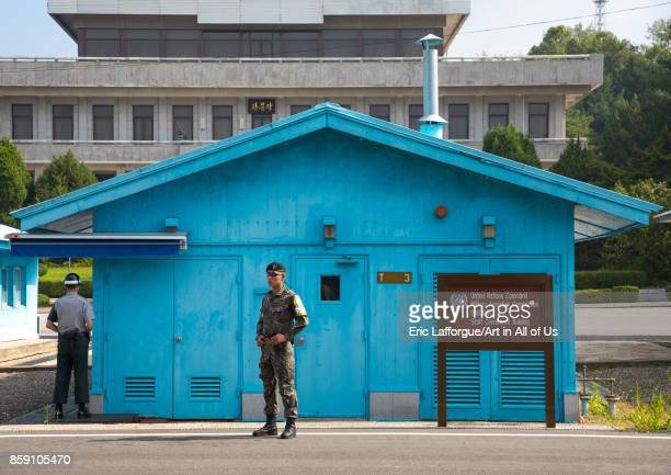 South Korean soldiers in the joint security area on the border between the two Koreas North Hwanghae Province Panmunjom South Korea on September 8...