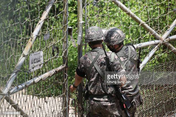 South Korean soldiers patrol at Imjingak, near the demilitarized zone on June 16, 2020 in Paju, South Korea. North Korea's military said Tuesday it...